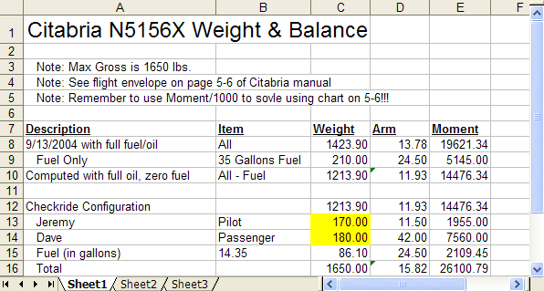 n5156x weight and balance