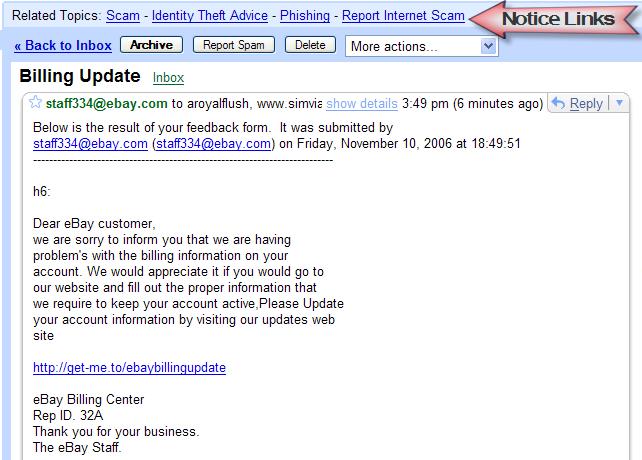Gmail Phishing Filter Needs Work (by Jeremy Zawodny)
