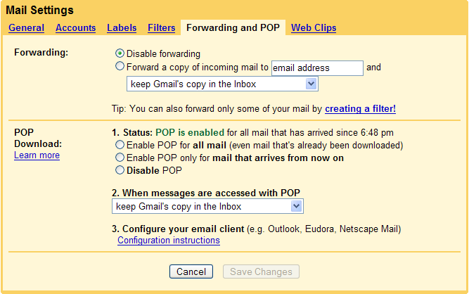 gmail pop setup