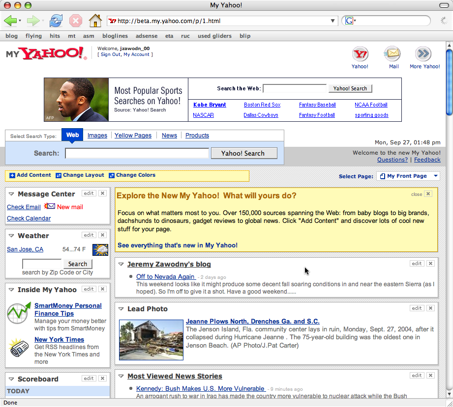 New My Yahoo Beta, Featuring RSS and Atom (by Jeremy Zawodny)