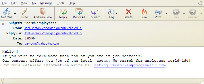 search employees spam